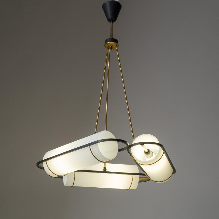 Italian Modernist Chandelier, 1950s, Satin Glass and Brass For Sale 9