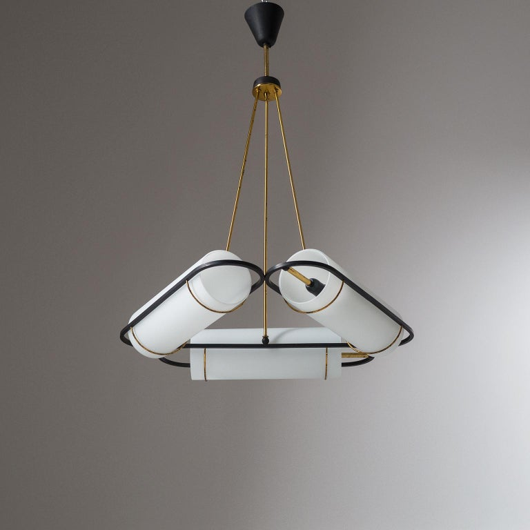 Italian Modernist Chandelier, 1950s, Satin Glass and Brass For Sale 12