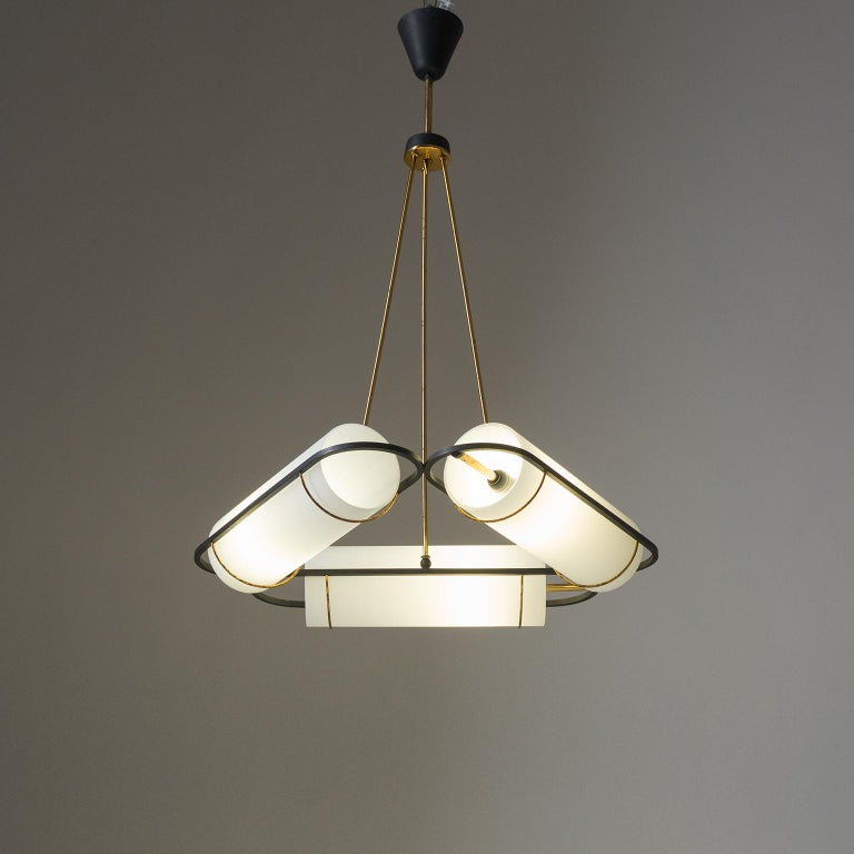 Italian Modernist Chandelier, 1950s, Satin Glass and Brass For Sale 13