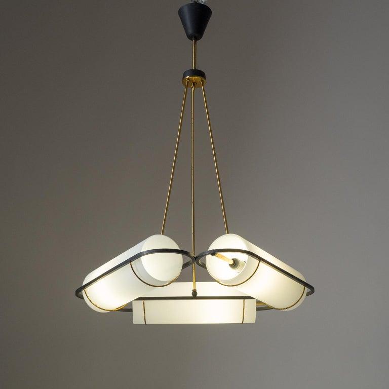 Mid-Century Modern Italian Modernist Chandelier, 1950s, Satin Glass and Brass For Sale