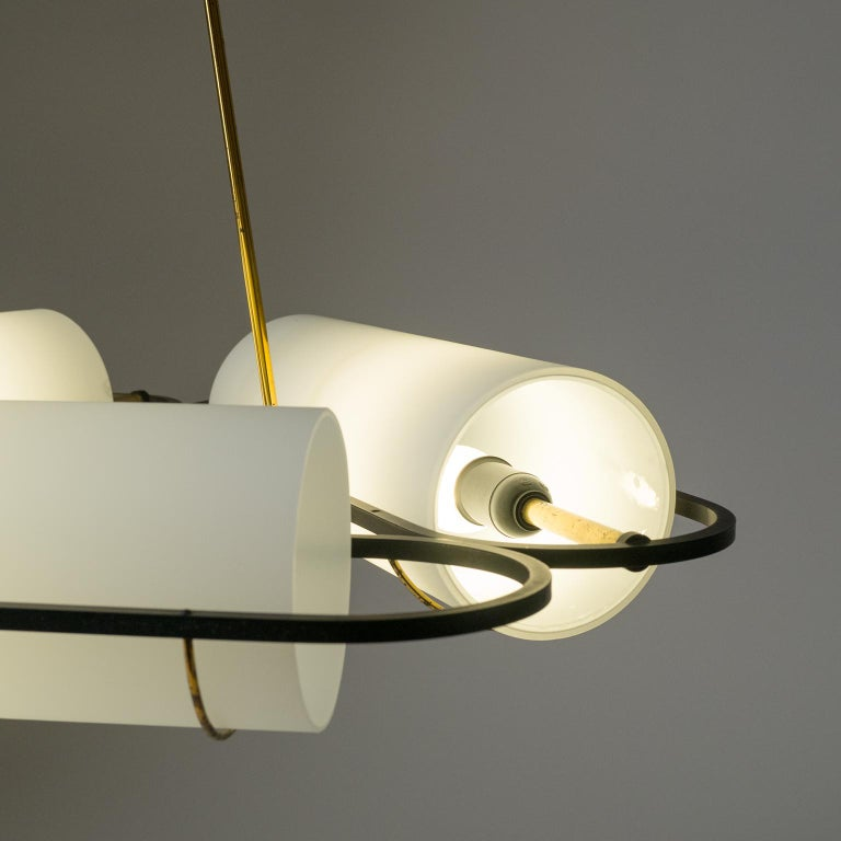 Frosted Italian Modernist Chandelier, 1950s, Satin Glass and Brass For Sale
