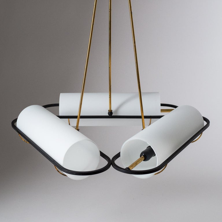 Mid-20th Century Italian Modernist Chandelier, 1950s, Satin Glass and Brass For Sale