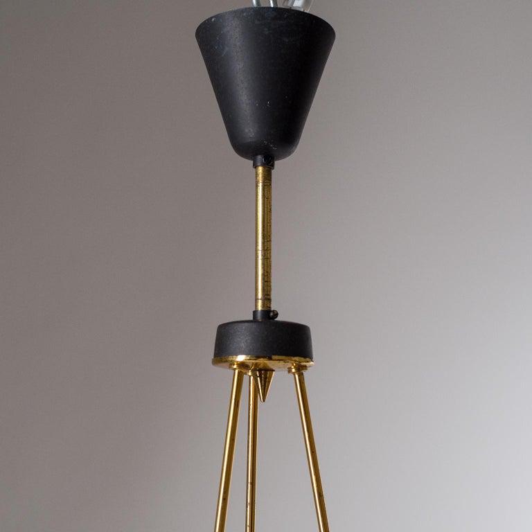 Aluminum Italian Modernist Chandelier, 1950s, Satin Glass and Brass For Sale