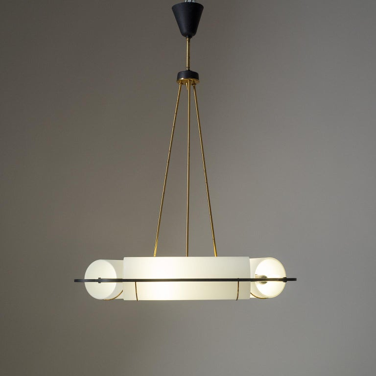 Italian Modernist Chandelier, 1950s, Satin Glass and Brass For Sale 2