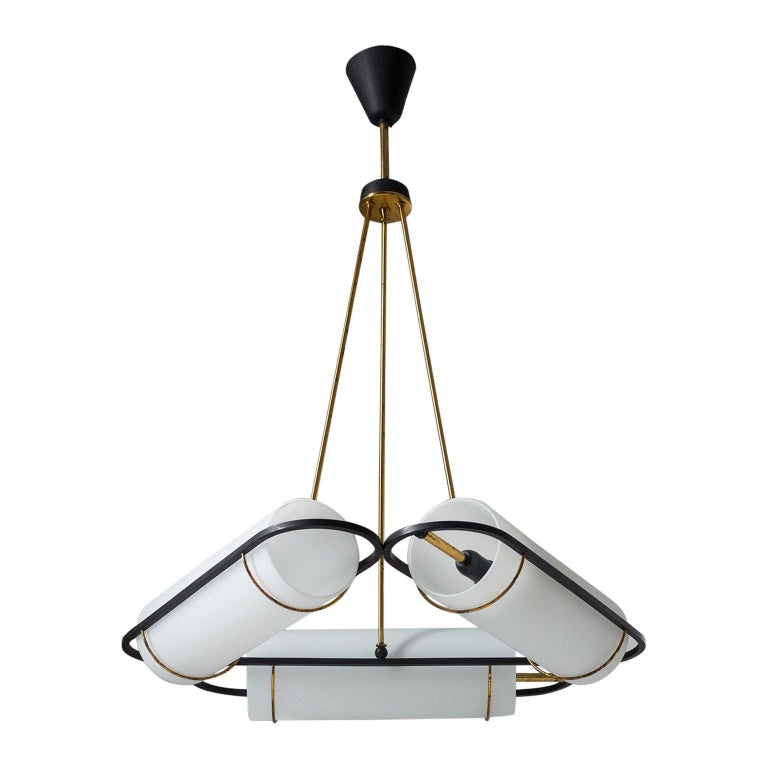 Italian Modernist Chandelier, 1950s, Satin Glass and Brass For Sale