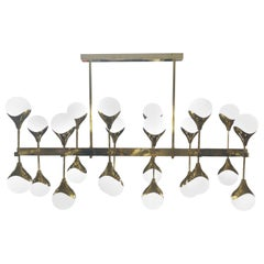 Italian Modernist Chandelier in Brass with 24 Opaline Glass Shades