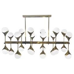 Italian Modernist Chandelier in Brass with 24 Opaline Glass Shades