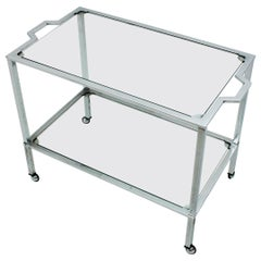 Italian Modernist Chromed Steel and Glass Bar Cart, Italy, 1970s