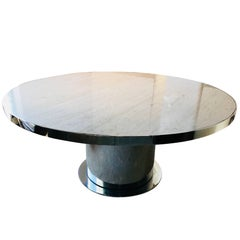 Italian Modernist Circular Travertine Top and Chrome Dining Table