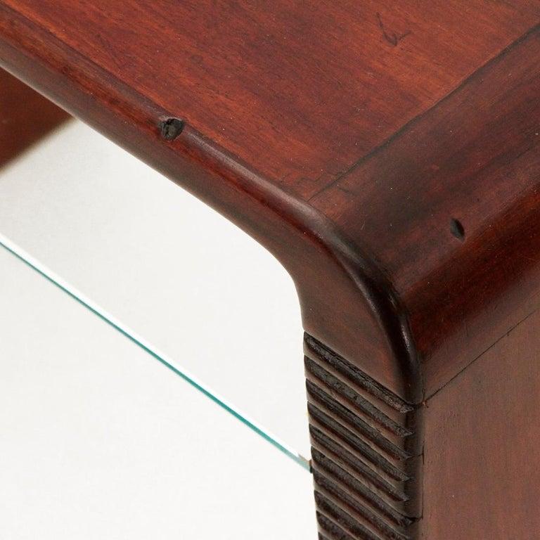 Italian Modernist Console Desk with Glass Shelf, 1940s For Sale 6