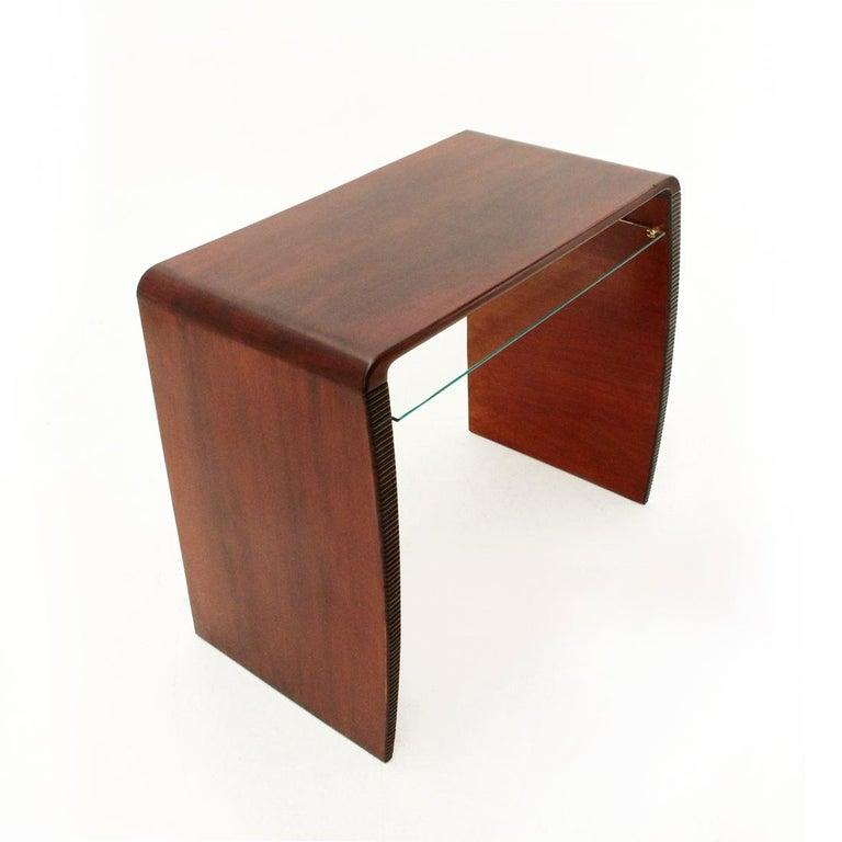 Mid-Century Modern Italian Modernist Console Desk with Glass Shelf, 1940s For Sale
