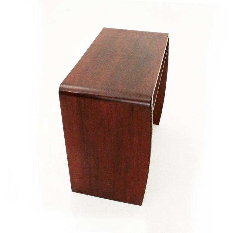 Italian Modernist Console Desk with Glass Shelf, 1940s For Sale 1