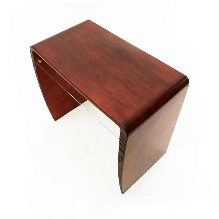 Italian Modernist Console Desk with Glass Shelf, 1940s For Sale 2