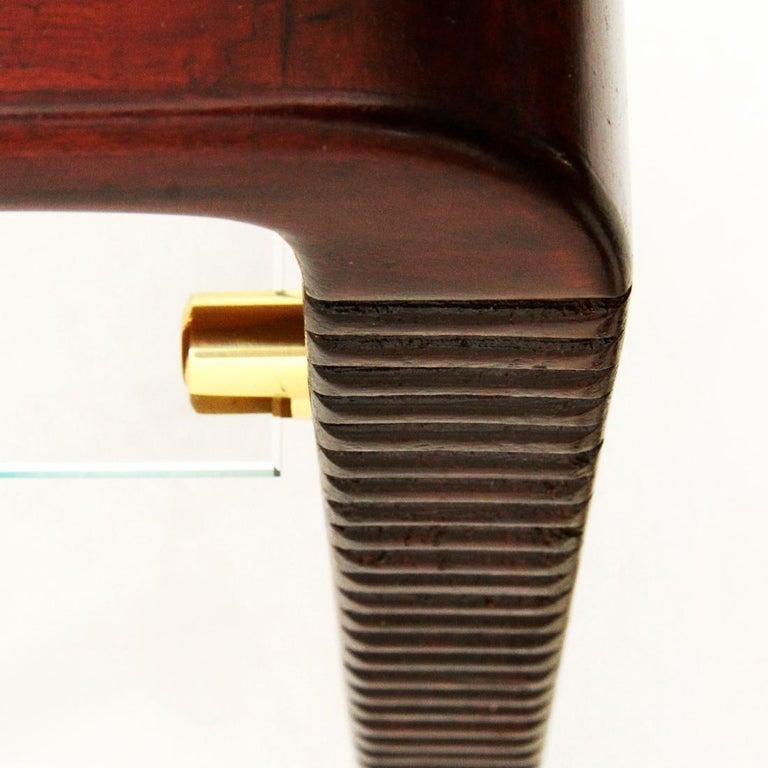 Italian Modernist Console Desk with Glass Shelf, 1940s For Sale 3