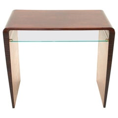 Italian Modernist Console Desk with Glass Shelf, 1940s