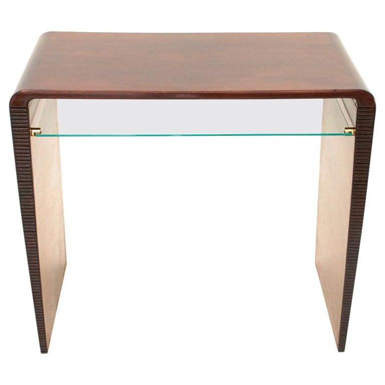 Italian Modernist Console Desk with Glass Shelf, 1940s For Sale