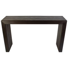 Italian Modernist Dark Wood and Steel Console Table