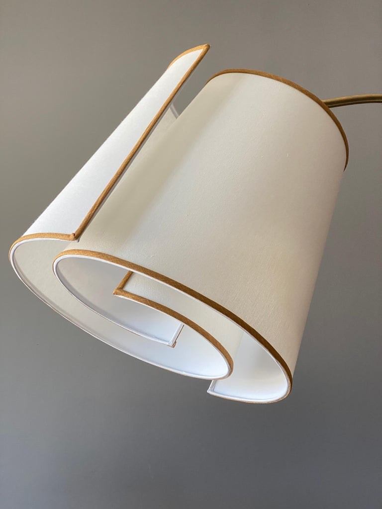 Mid-Century Modern Italian Modernist Designer, Adjustable Floor Lamp, Brass, Marble, Fabric, 1970s For Sale