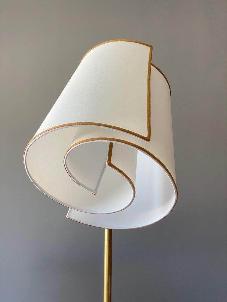 Italian Modernist Designer, Adjustable Floor Lamp, Brass, Marble, Fabric, 1970s For Sale 2