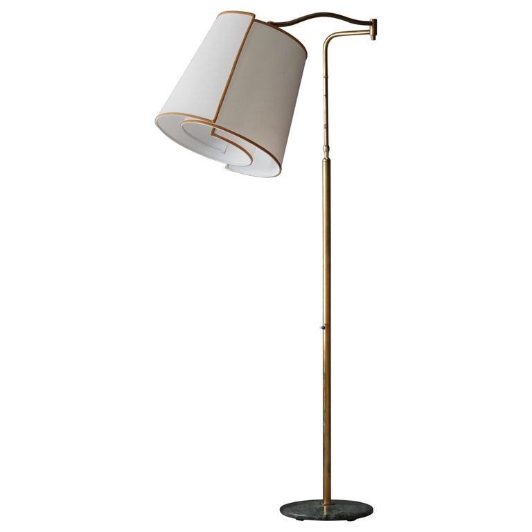 Italian Modernist Designer, Adjustable Floor Lamp, Brass, Marble, Fabric, 1970s For Sale