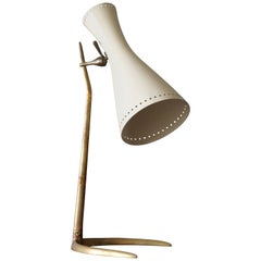 Italian Modernist Designer, Adjustable Table Lamp, Brass, Lacquered Metal, 1950s