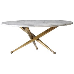 Italian Modernist Designer, Coffee / Cocktail Table, Marble, Brass, 1960s, Italy