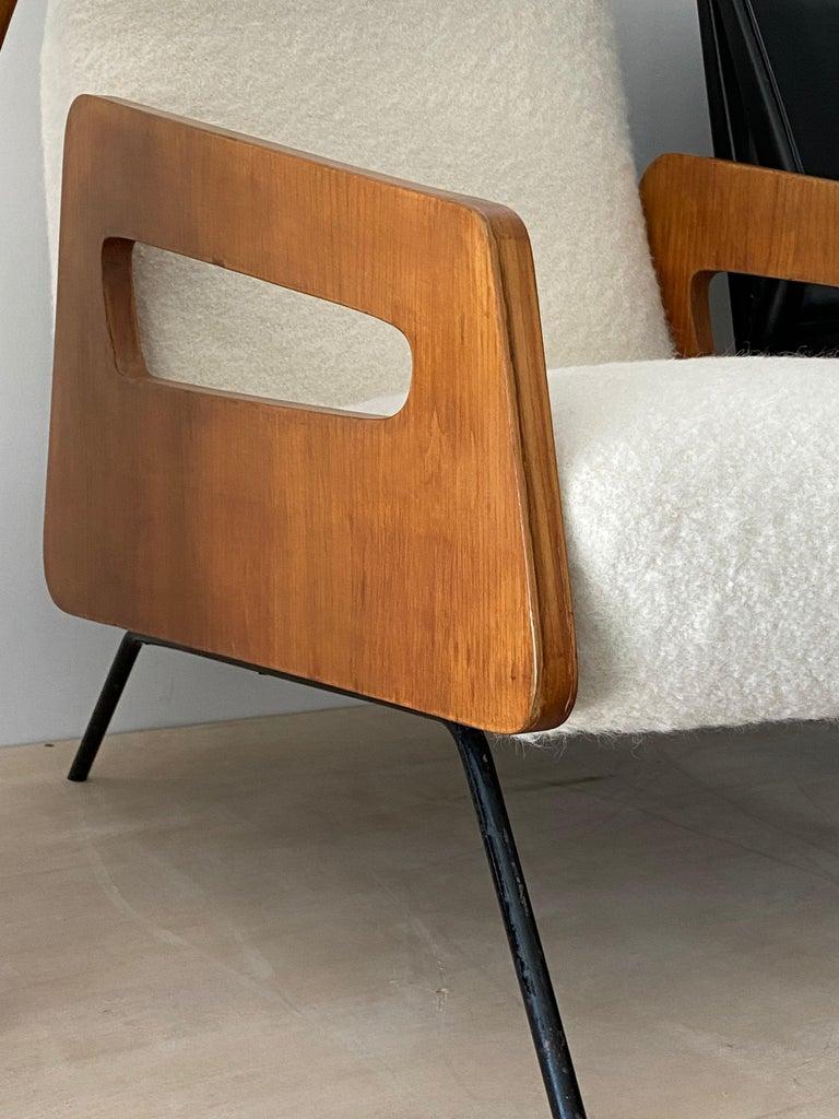 Mid-Century Modern Italian Modernist Designer, Lounge Chair, Bouclé, Wood, Metal, 1950s For Sale