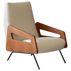 Italian Modernist Designer, Lounge Chair, Bouclé, Wood, Metal, 1950s