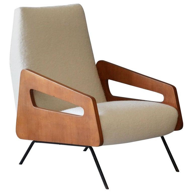 Italian Modernist Designer, Lounge Chair, Bouclé, Wood, Metal, 1950s For Sale