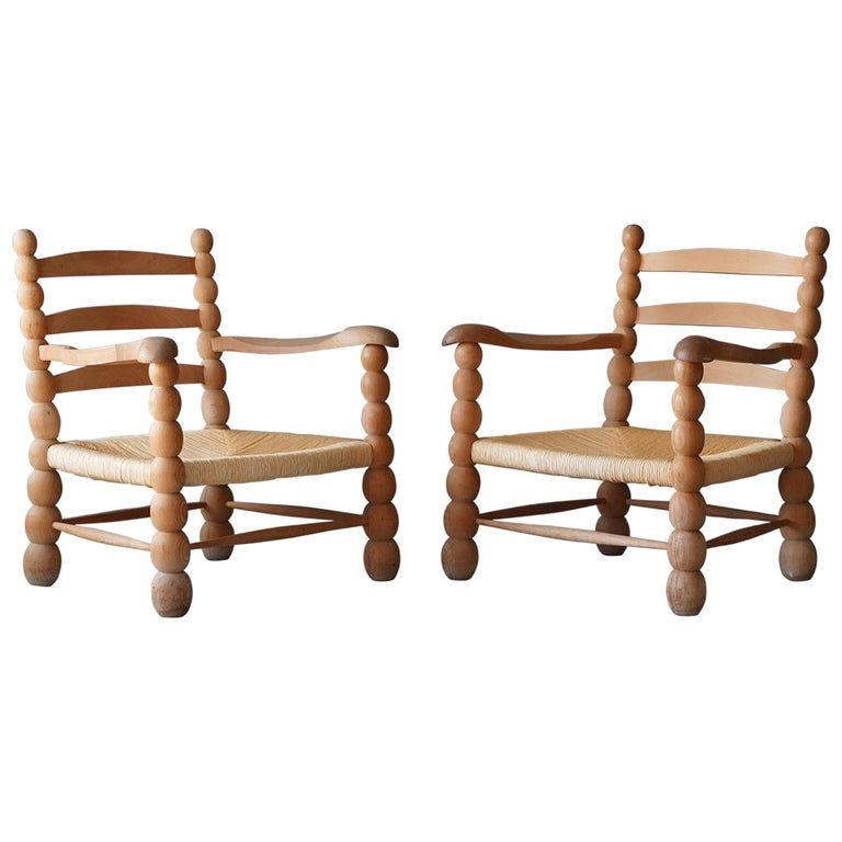 Italian Modernist Designer, Lounge Chairs, Beech, Rattan, Italy, 1960s For Sale