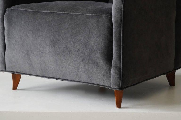Mid-20th Century Italian Modernist Designer, Lounge Chairs, Grey Velvet, Wood, Italy, 1950s For Sale