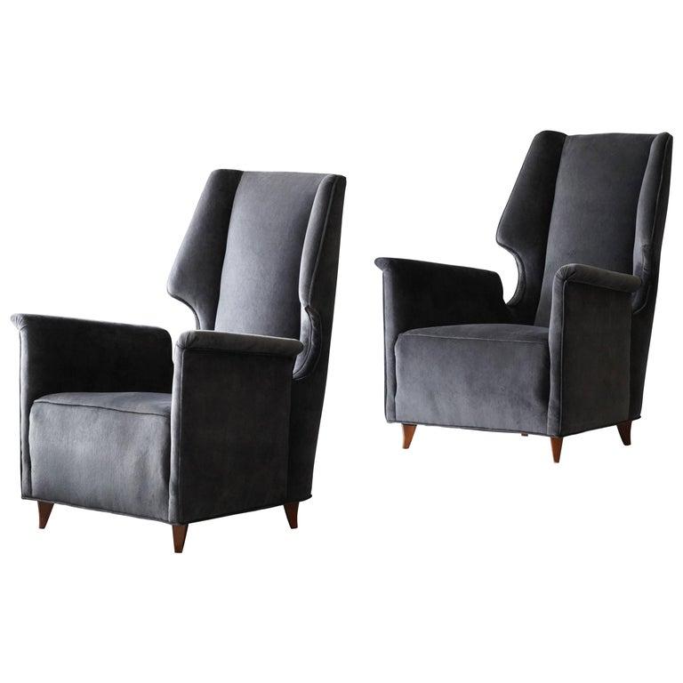 Italian Modernist Designer, Lounge Chairs, Grey Velvet, Wood, Italy, 1950s For Sale