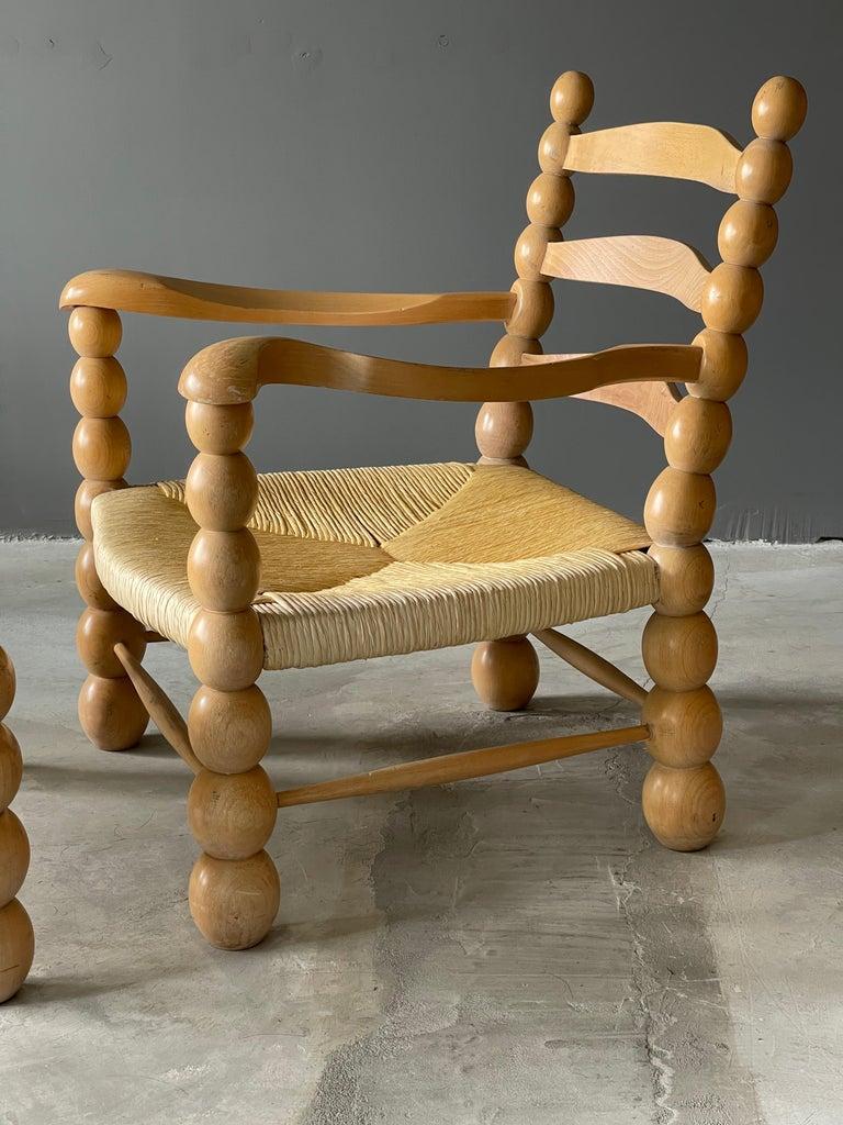 Mid-Century Modern Italian Modernist Designer, Lounge Chairs ottoman, Beech, Rattan, Italy, 1960s For Sale