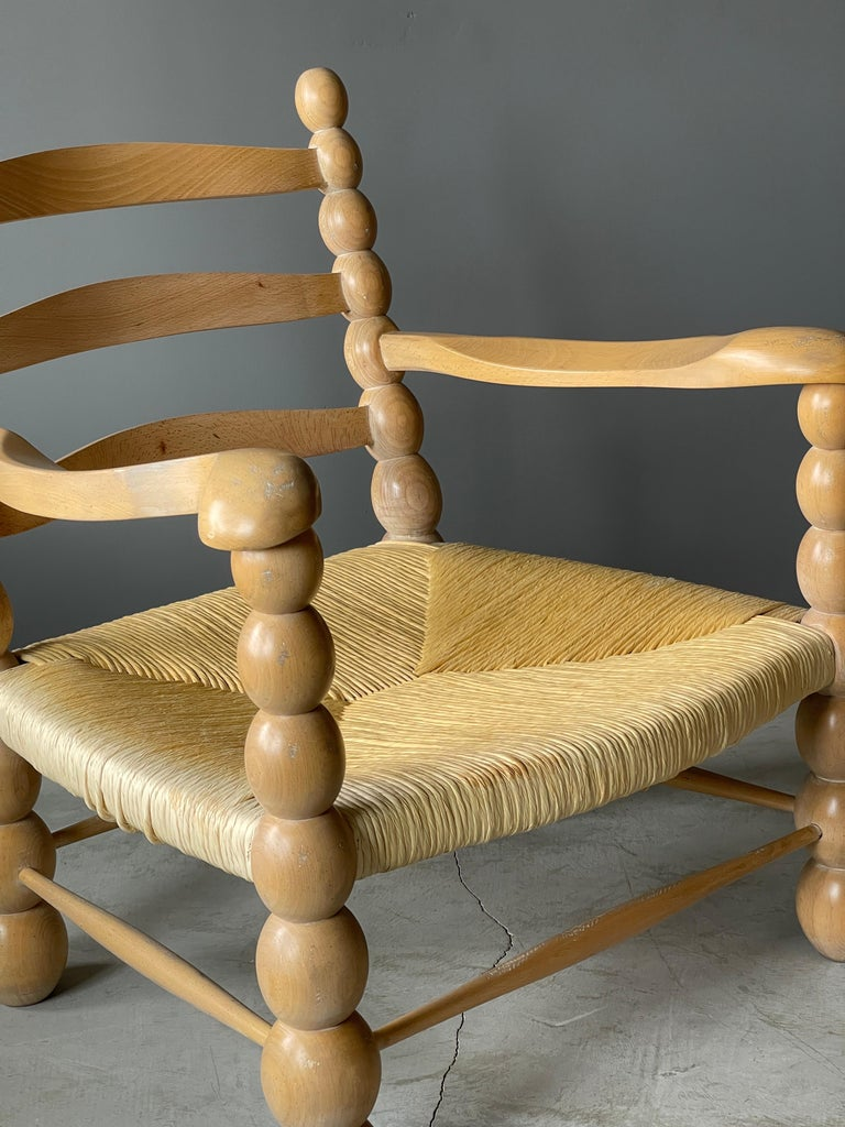 Italian Modernist Designer, Lounge Chairs ottoman, Beech, Rattan, Italy, 1960s In Good Condition For Sale In West Palm Beach, FL
