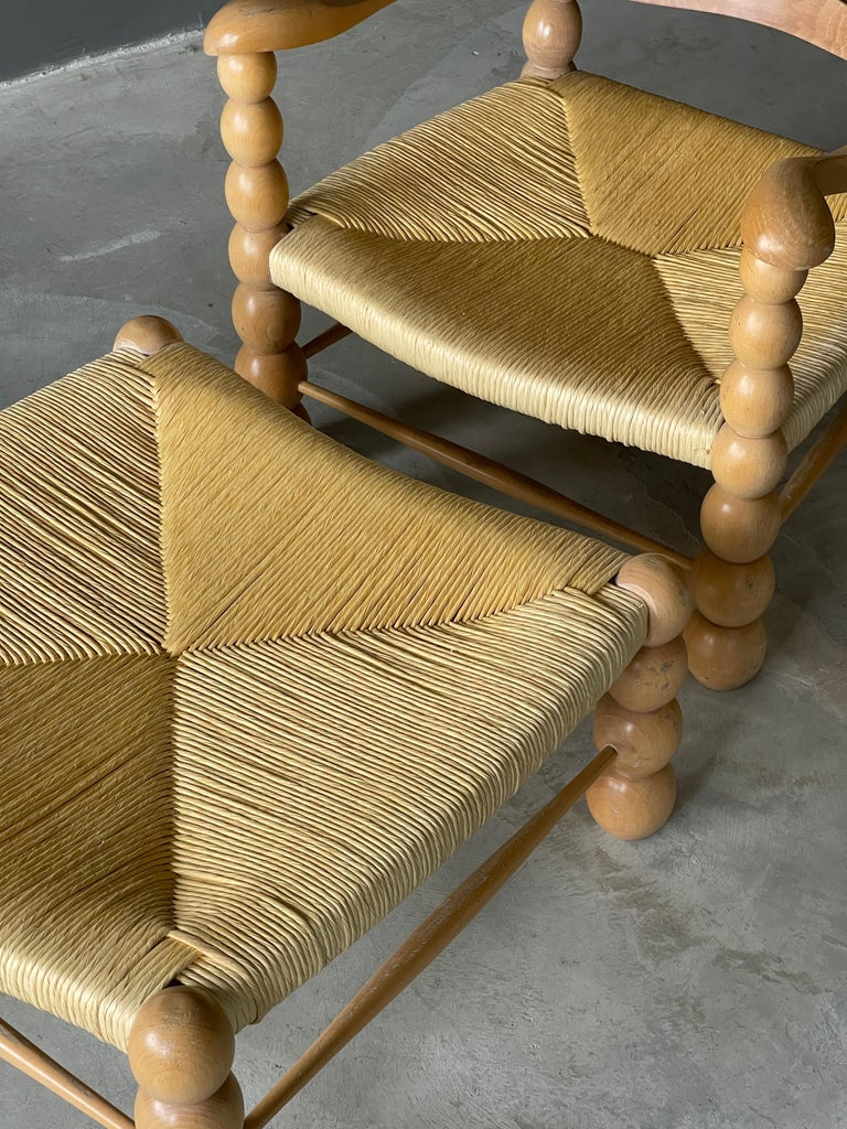 Mid-20th Century Italian Modernist Designer, Lounge Chairs ottoman, Beech, Rattan, Italy, 1960s For Sale