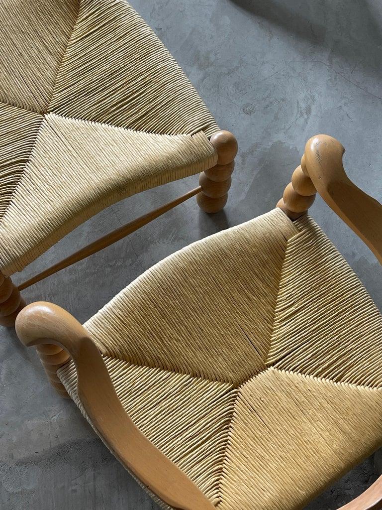 Italian Modernist Designer, Lounge Chairs ottoman, Beech, Rattan, Italy, 1960s For Sale 1