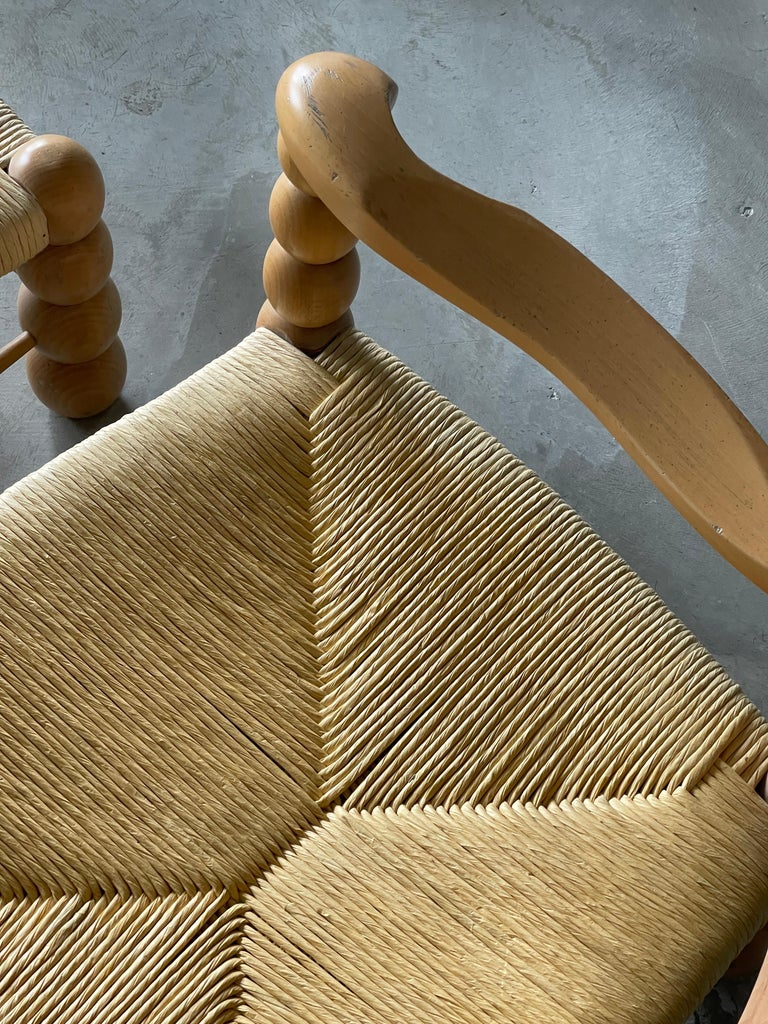 Italian Modernist Designer, Lounge Chairs ottoman, Beech, Rattan, Italy, 1960s For Sale 2