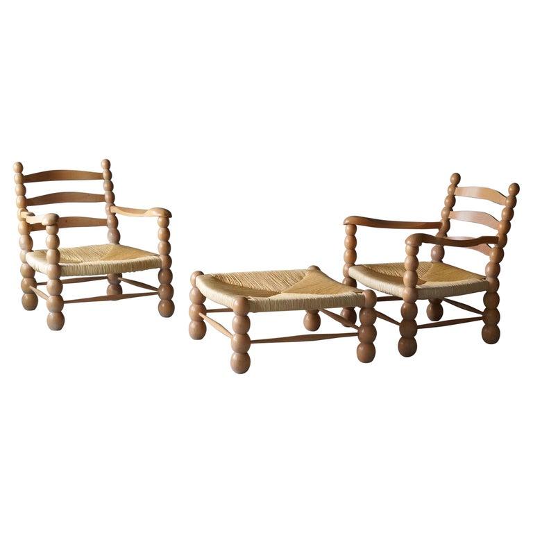 Italian Modernist Designer, Lounge Chairs ottoman, Beech, Rattan, Italy, 1960s For Sale