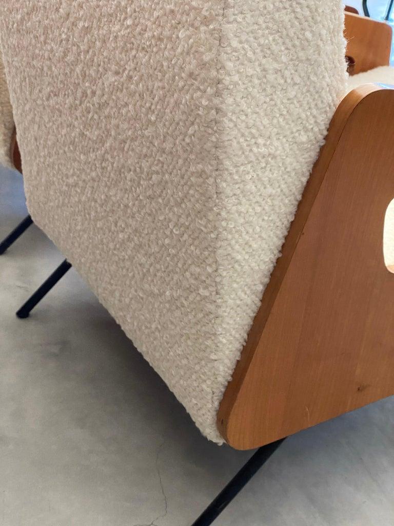 Italian Modernist Designer, Lounge Chairs, White Bouclé, Wood, Metal, 1950s For Sale 1