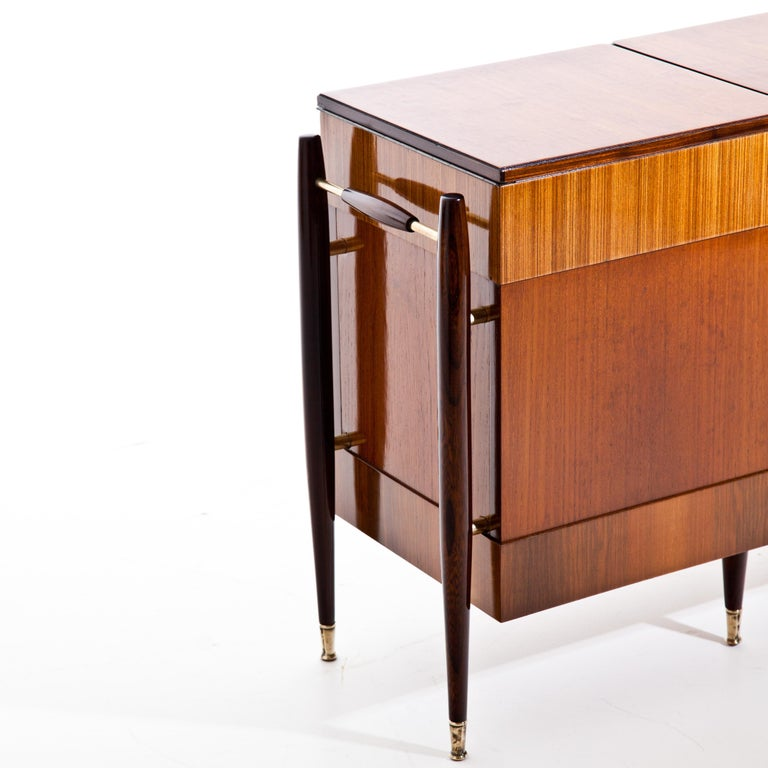 Mid-Century Modern Italian Modernist Folding Bar Cabinet For Sale