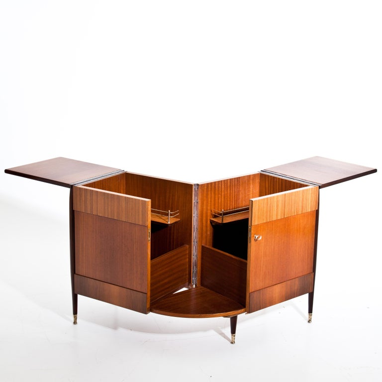 Polished Italian Modernist Folding Bar Cabinet For Sale