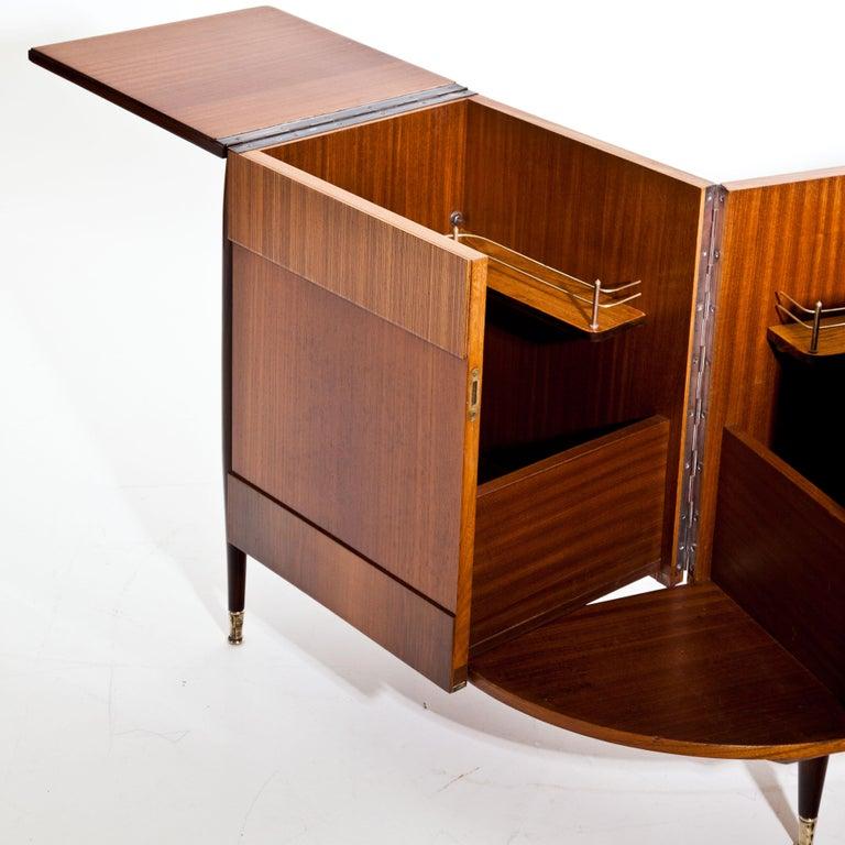 Mahogany Italian Modernist Folding Bar Cabinet For Sale