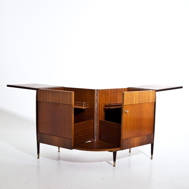 Italian Modernist Folding Bar Cabinet For Sale 1