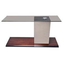 Italian Modernist Glass Top Console with Mirrored Support and Walnut Base