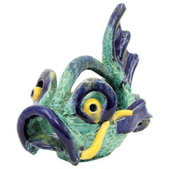 Italian Modernist Glazed Ceramic Fish Shaped Basket Bowl