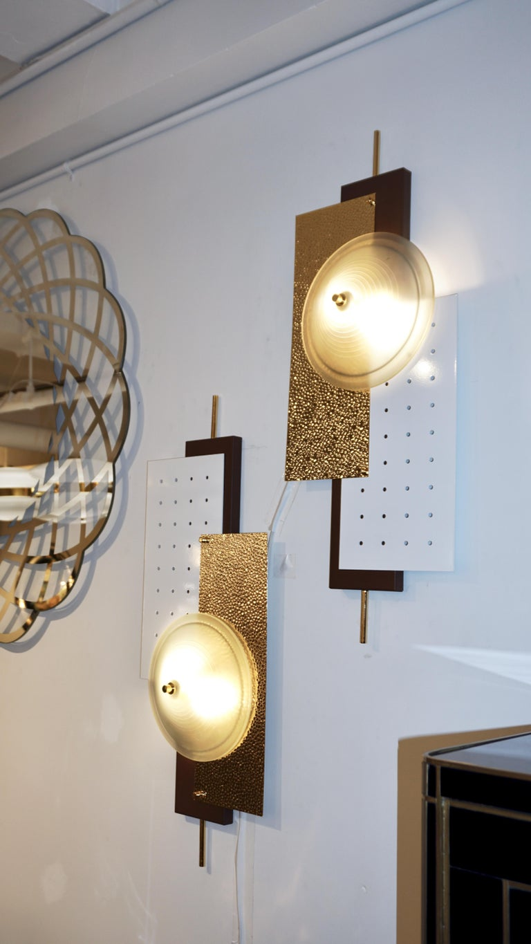 Italian Modernist Gold White & Brown Geometric Textured Metal & Glass Sconces For Sale 7
