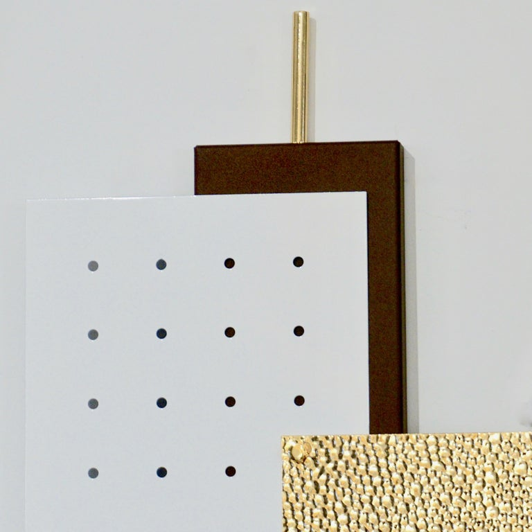 Italian Modernist Gold White & Brown Geometric Textured Metal & Glass Sconces For Sale 8