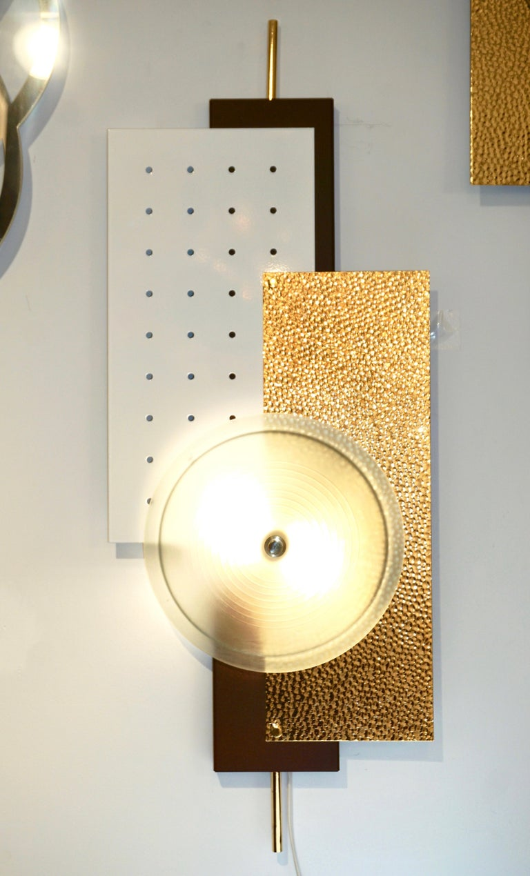 Italian Modernist Gold White & Brown Geometric Textured Metal & Glass Sconces For Sale 9