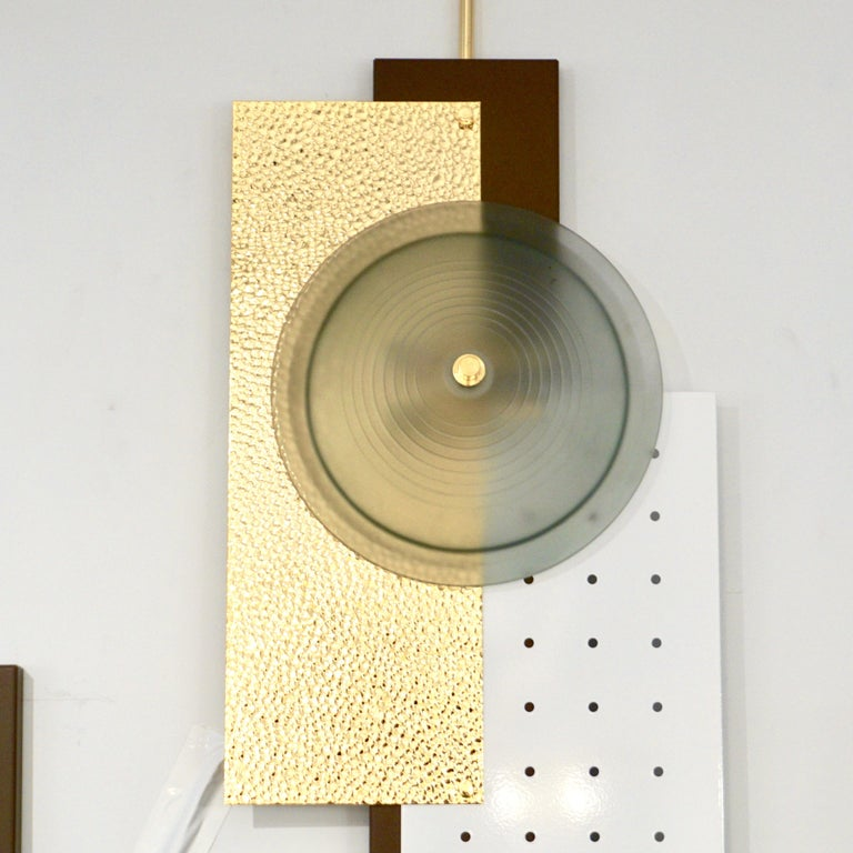 Italian Modernist Gold White & Brown Geometric Textured Metal & Glass Sconces For Sale 10