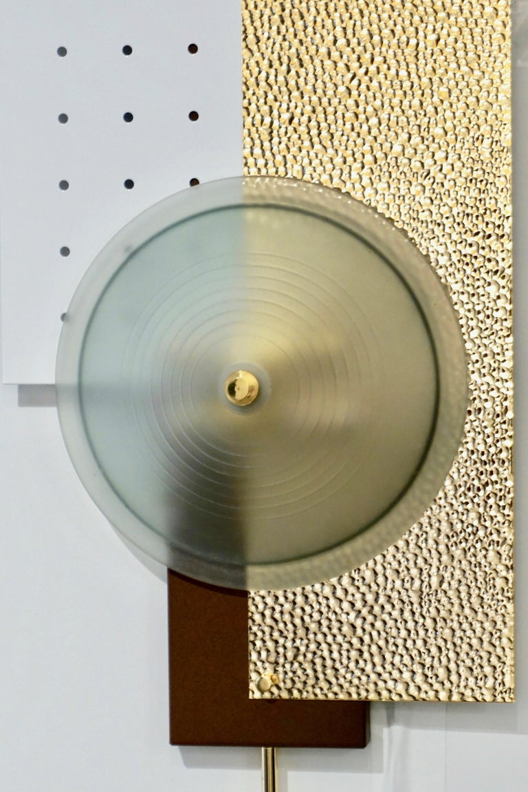 Italian Modernist Gold White & Brown Geometric Textured Metal & Glass Sconces For Sale 11